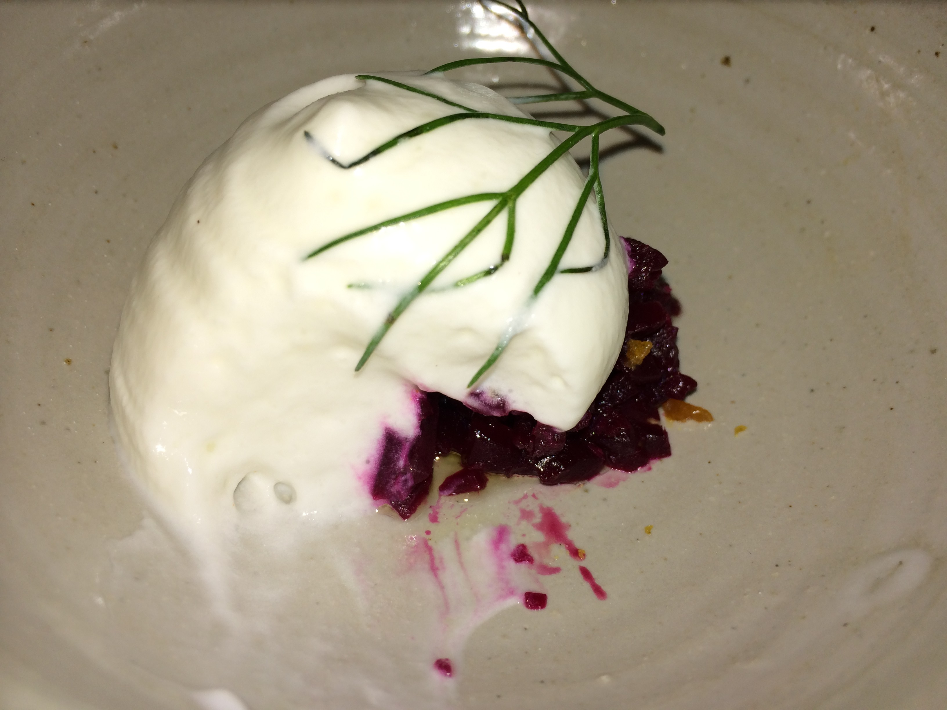 Roasted Red Beets, Goats Milk Froth and Freshly Grated Horseradish