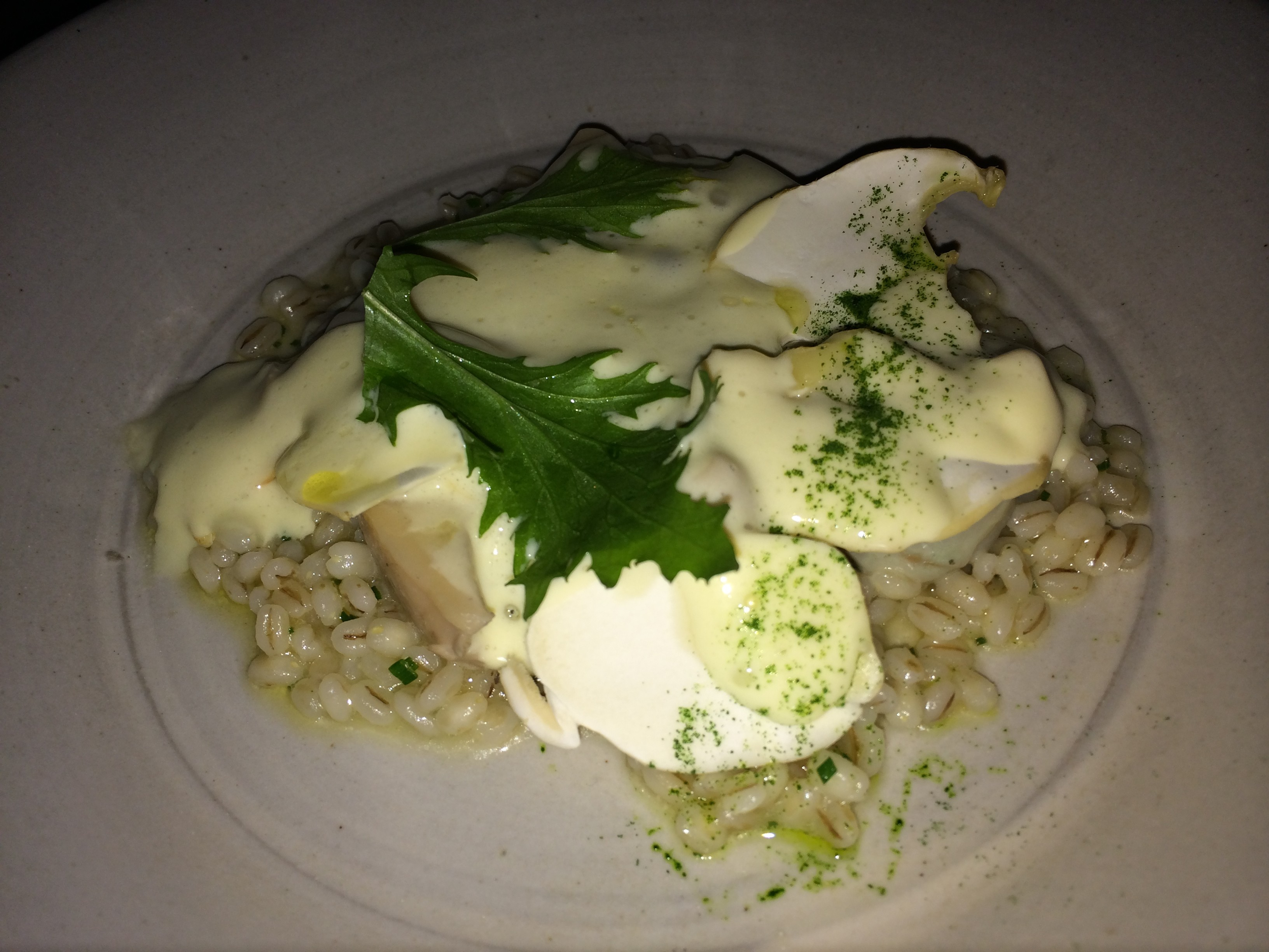 Poached Oysters, Matsutake Mushrooms, Pearl Barley