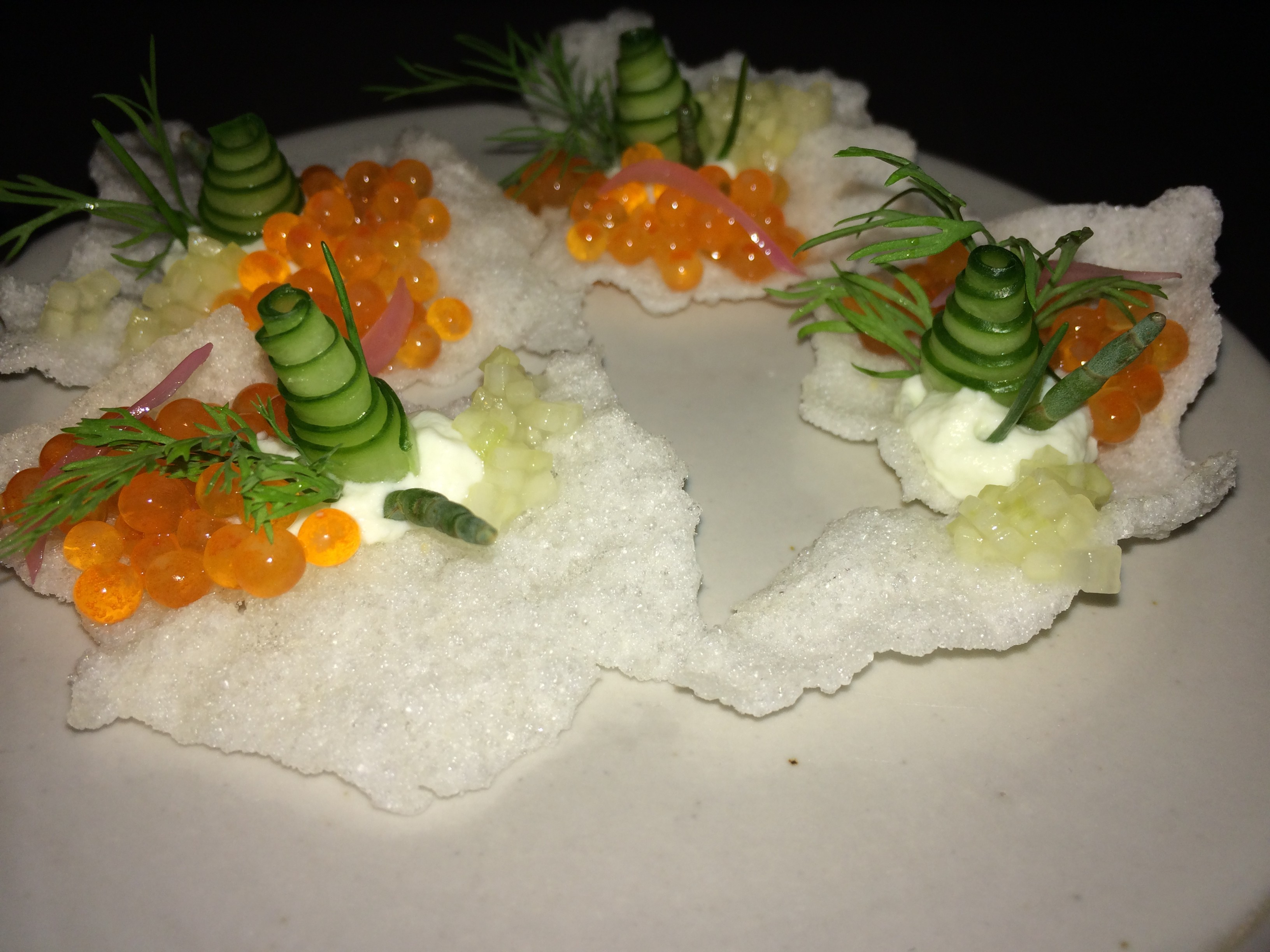 Trout Roe on Puffed Rice with Cucumber
