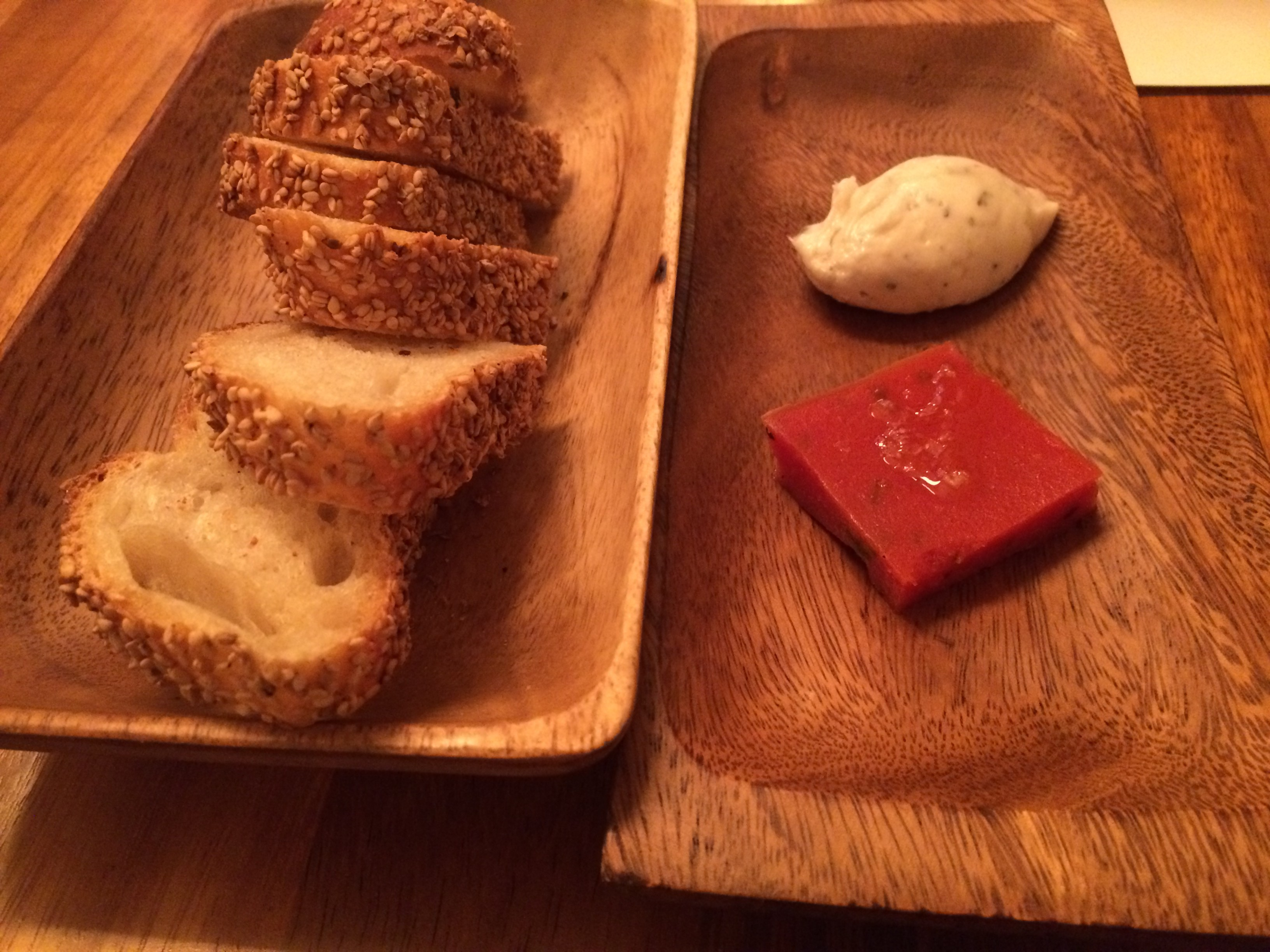 Seasame Bread With Lardo and Tomato Jam