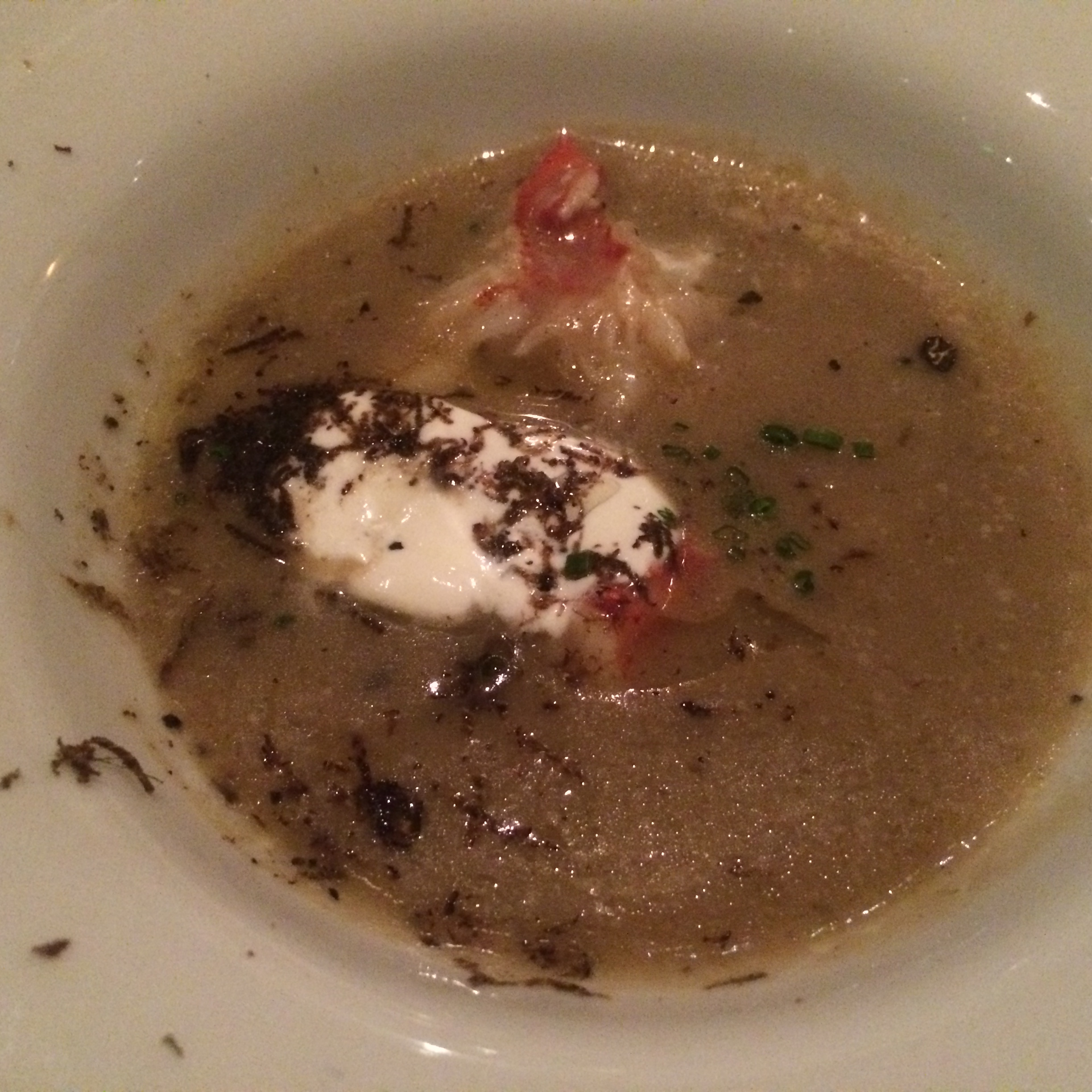 Sunchoke Soup with Lobster and Creme Fraiche