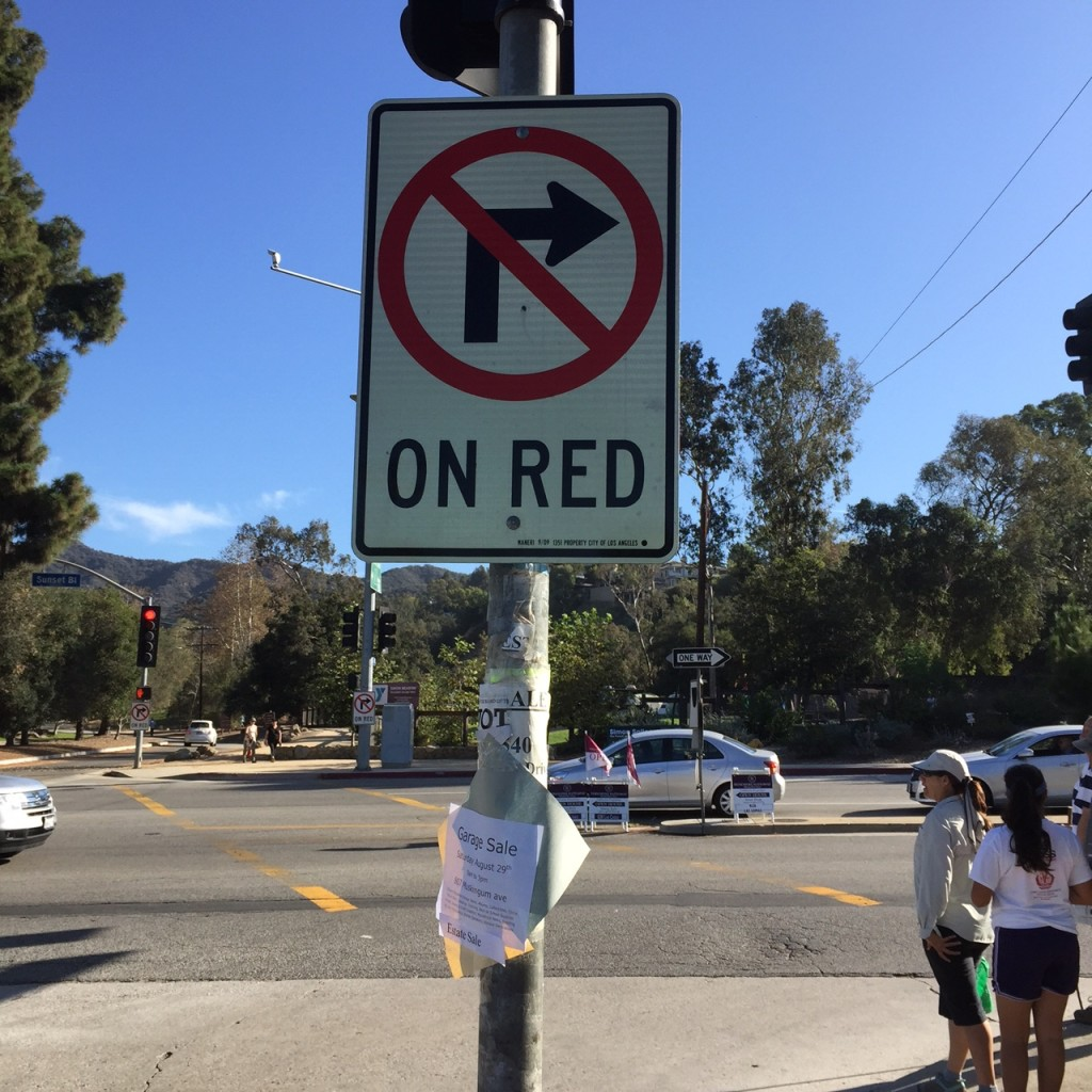 No Turn On Red at Intersection of Temescal & Sunset Blvd.