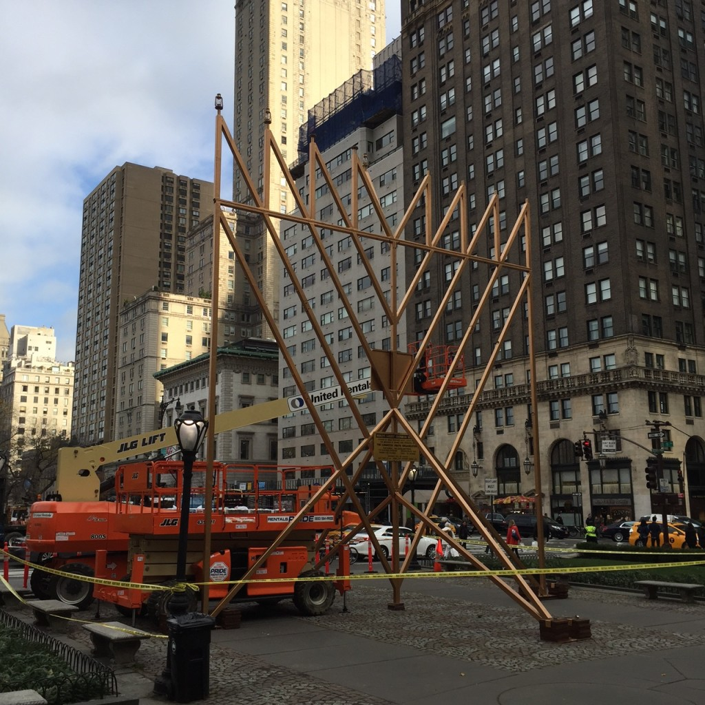 Menorah in front of the Plaza Hotel