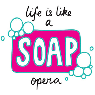 "Image of soap bubbles around a bar of soap with the words ""Life is like a soap opera"""