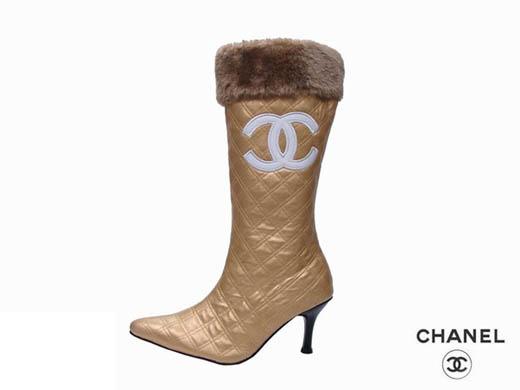 Chanel-fur-fold-Women-gold-high-heel-boots-ID-yj