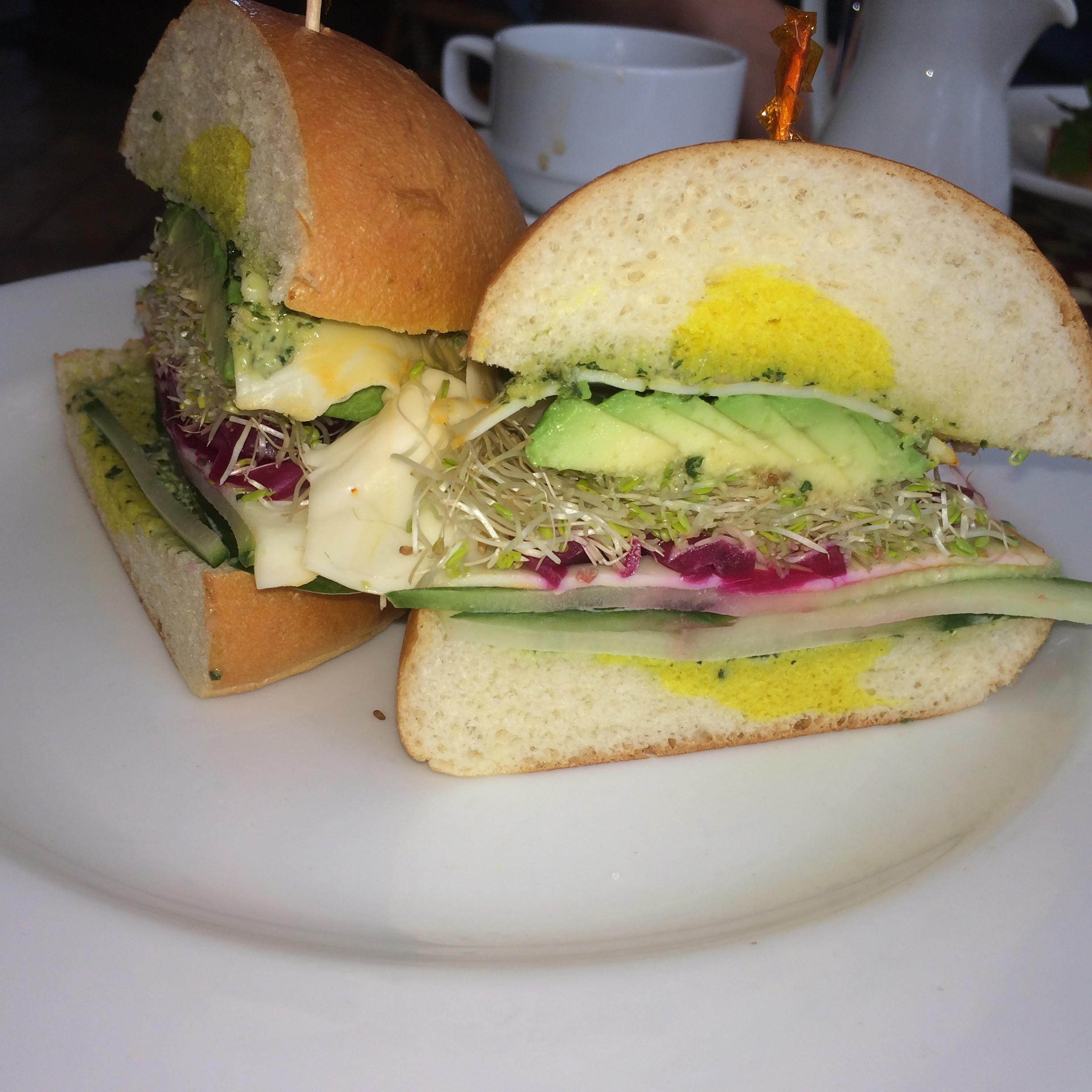 Cucumber, Avocado, Basil Sandwich