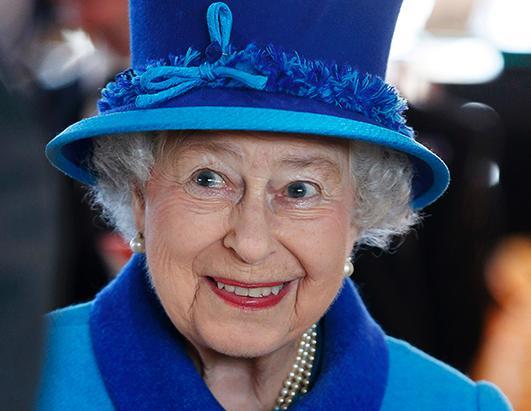 Queen Elizabeth , Dressed In Giants Big Blue