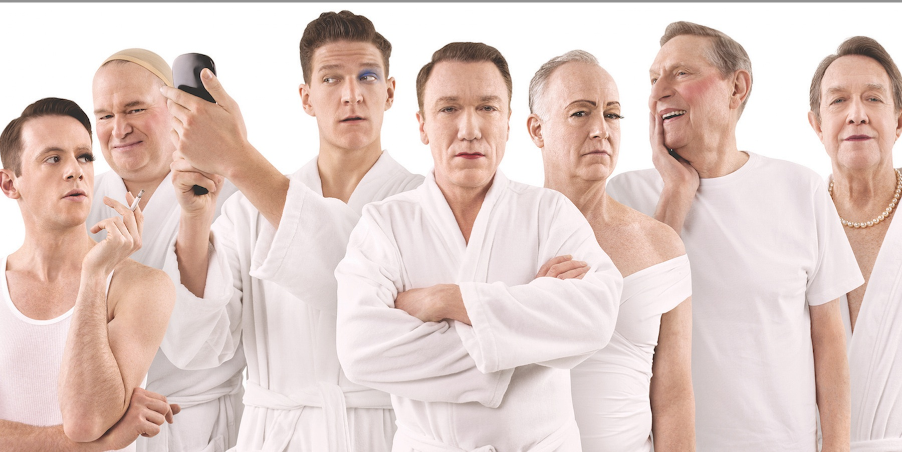 The cast of cross-dressers in Casa Valentina, l to r: Nick Westrate, Tom McGowan, Gabriel Ebert, Patrick Page, Reed Birney, John Cullum, Larry Pine  Photo/nytheater.me