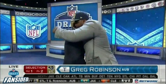 NFL Commissioner, Roger Goodell, Hugged By 2014 #2 Draft Choice, Greg Robinson
