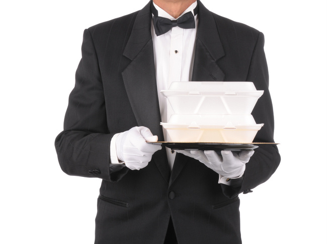 Butler with Take-out Food Containers on Tray