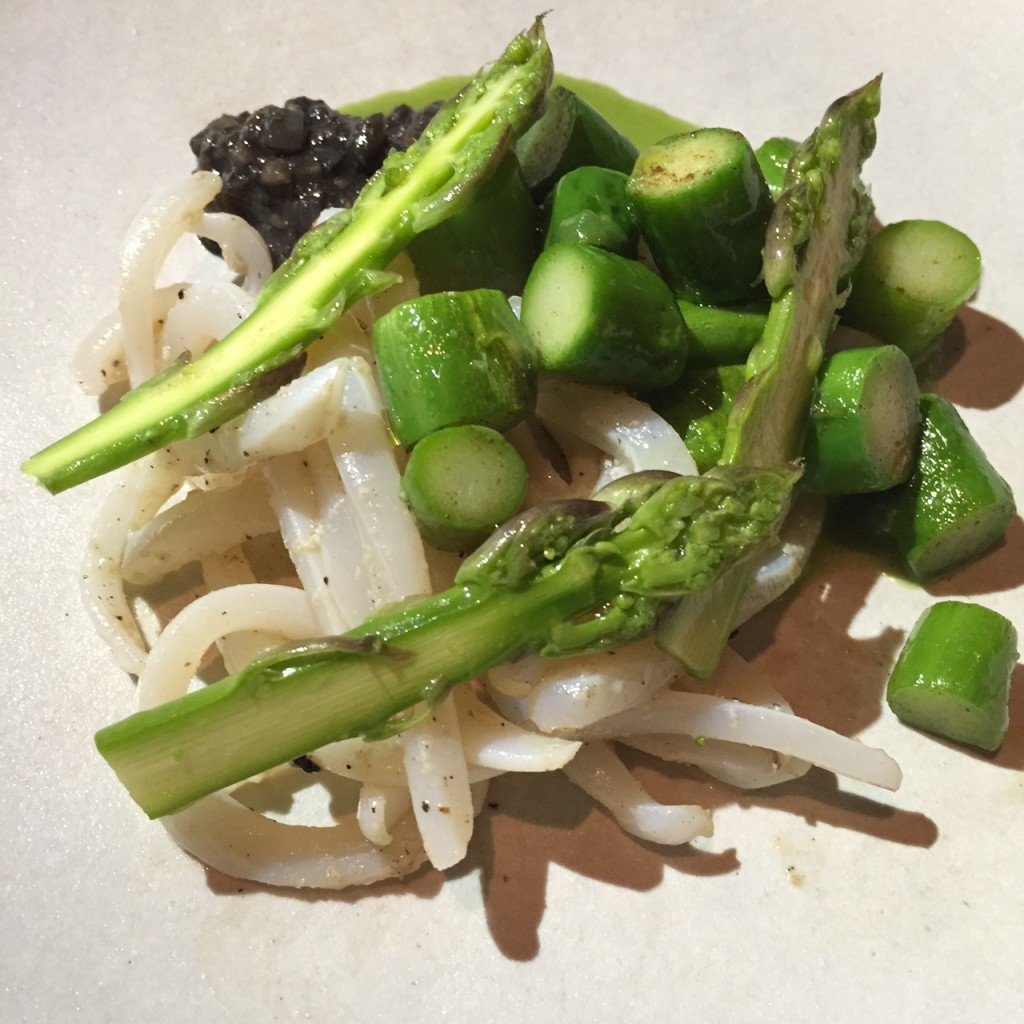 Squid, Asparagus, Walnut