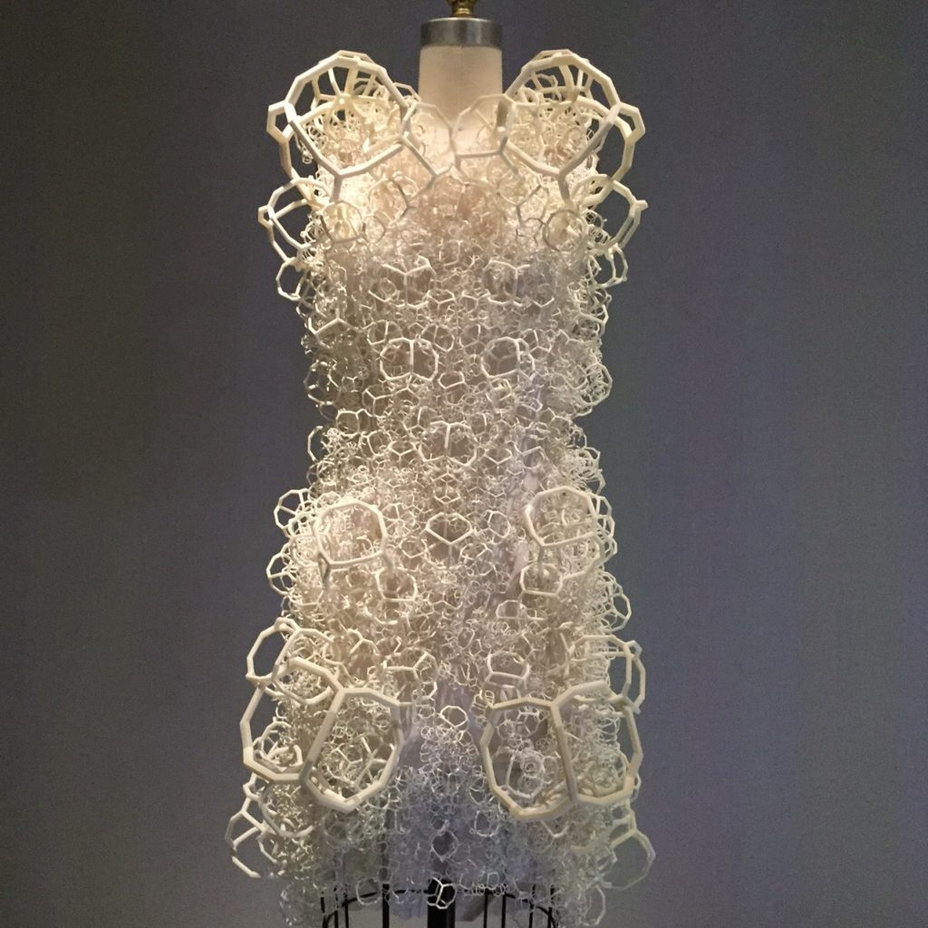 ThreeAsFour Bahia Dress 2014 The dress is machine-sewn white nylon powder mesh, hand-embroidered with 3-D printed ivory resin and nylon.